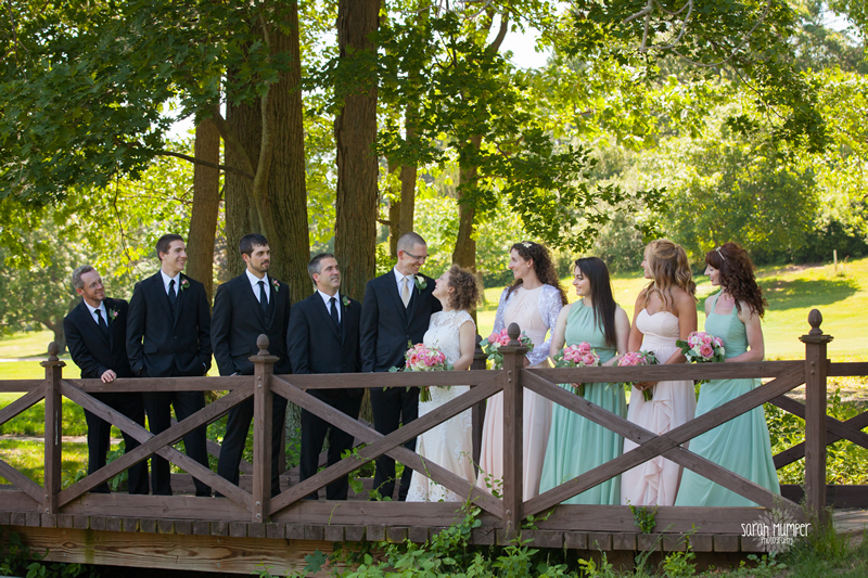 wedding party on bridge at frosty valley